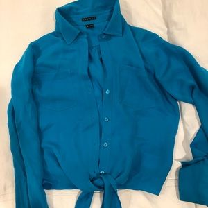 Theory button down knot top
